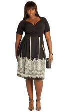 IGIGI Yuliya Raquel Black White Knit Lace Print Tallulah DRESS Plus 18 20 NWT!