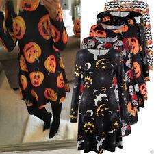 Women Halloween Party Cosplay Costume Pumpkin Long Sleeve Mini Tunic Dress Tops