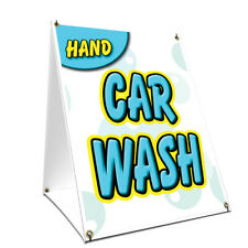 A-frame Sidewalk Sign Hand Car Wash With Graphics On Each Side