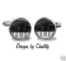 Piano Key Cufflinks Music Notes Glass Art Silver Bezel Cuff links Musical Lover