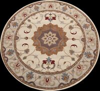 IVORY Floral Traditional Oriental Area Rug Hand-tufted Wool Carpet 8'x8' Round