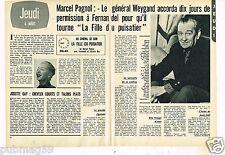 Coupure de presse Clipping 1971 (2 pages) Marcel Pagnol La Fille du Puisatier