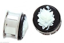 """PAIR-Cameo Rose White Steel Double Flare Plugs 14mm/9/16"""" Gauge Body Jewelry"""