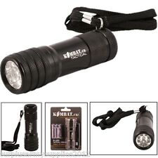 TACTICAL MILITARY 9 LED METAL TORCH + BATTERIES SUPER BRIGHT CADET SCOUT SAFETY