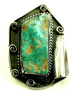 Large Turquoise Cabochon Pendant Sterling Silver