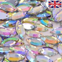 AB Rainbow Clear Sew on Acrylic horse eye Diamante Gem Rhinestone 7x15mm #1