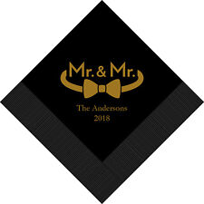 100 Mr & Mr Single Bowtie Gay Personalized Printed Wedding Cocktail Napkins