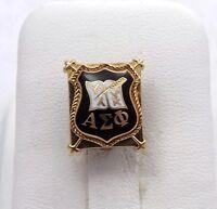 Antique 14K Gold ALPHA SIGMA PHI Fraternity Black Enamel Pin- 5.1gr