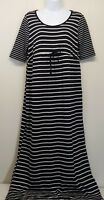 Oh Baby Motherhood Maternity Dress SMALL Black White Stripe Maxi Long Modest