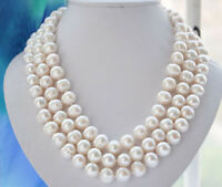 """Charming Natural 10-11mm white freshwater cultured pearl necklace long 54"""" AA"""