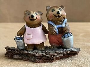 Wee Forest Folk 1977 Blueberry boy & girl bear A Peterson early real wood pair