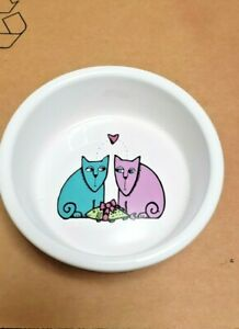 "SIGNATURE STONEWARE ""CAT'S LOVE"" DESIGN PET BOWL, GREAT FOR YOUR KITTY!"