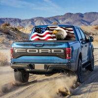 For Truck Jeep SUV Rear Window Graphic Tint Decal Sticker American Flag Eagle US