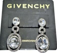 $55 Givenchy bridal silver tone swaraoski element clip on earrings z4