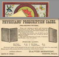 1800s Physician Prescription Case David Heston Frankford Philadelphia Trade CARD