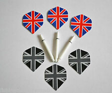 UNION JACK AND UNION BLACK FLIGHTS & WHITE DEFLECTAGRIP NYLON STEMS WITH SPRINGS
