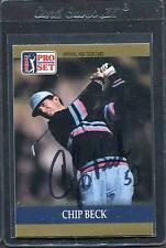 1990 Pro Set Golf Chip Beck #64 Signed Autograph