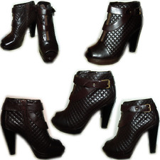$1195 Sonia Rykiel Quilted Browm Leather Platform Shoes Boots Pump 40-9.5 Bootie