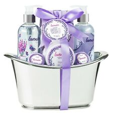 Bath, Body, and Spa Gift Basket Set in a Tub for Women, in Lavender Fragrance