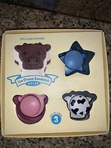Ice Cream Sandwich Molds Set 3 Williams Sonoma Cow Pig Star Farm Animals