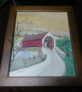 Folk Art Primitive Landscape Painting Signed Amish Country Vintage Large Horse