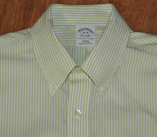 Brooks Brothers Non Iron Slim Fit green & white stripe L/S 16-35