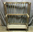 1 Antique Industrial Metal Frame Wooden Shoe Rack Old Shop Garage VTG 1296 20B