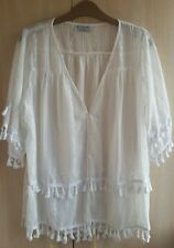 WOMAN'S WHITE BLAUSE SIZE 8/10 UK WITH COTTON DETAILS NWTG