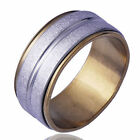 Mens mystic Band Ring 14K Gold Filled spinner White Stainless Steel Size 9