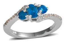 Neon Apatite and White Topaz Ring 1.00 carats Size 9