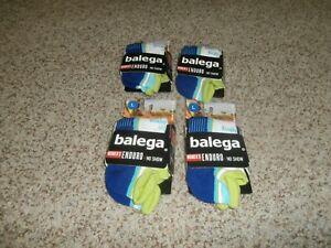 NEW LOT 4 PAIRS BALEGA  WOMEN'S ENDURO NO-SHOW SOCKS BLUE GREEN LARGE