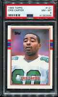 1989 Topps Football #121 CHRIS CARTER Philadelphia Eagles RC Rookie PSA 8 NM-MT
