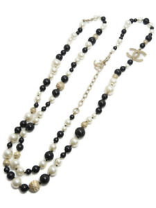 "CHANEL CC Logos Black White Pearl Necklace 44"" Auth Excellent"