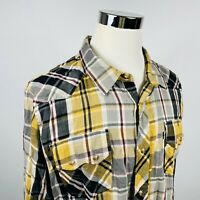 Levis Mens 2XL Modern Fit Peal Shirt Beige Gray Plaid 100% Cotton Western