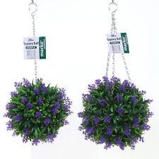 Topiary Balls Artificial Lavender Buxus Flower Hanging Basket Plant Purple Red Purple 30cm 3