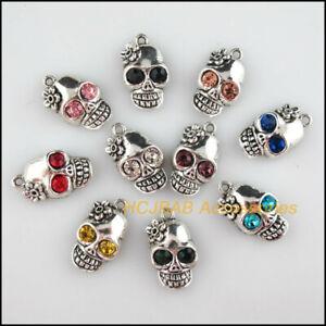 10 New Skulls Charms Mixed Crystal Halloween Pendant Tibetan Silver Tone 13x22mm