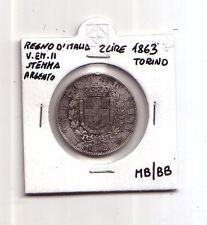 Regno d'Italia 2 lire 1863 stemma Ag  Torino  V.Emanuele II   MB/BB   (m1093)