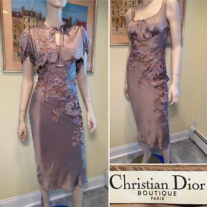 CHRISTIAN DIOR Size 4 Silk Mocha Brown Floral Beaded 2-Piece Dress/Bolero Set