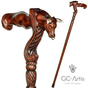 Original GC-Artis Wooden Bull Ox Walking Cane Stick for man - Ergonomic Handle