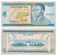 CONGO DEMOCRATIC 10 Makuta 1967 P-9 Mobutu UNC Uncirculated