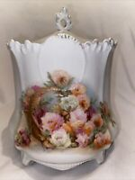 ANTIQUE Unsigned RS PRUSSIA FOOTED BISCUIT COOKIE JAR FLORAL 7""