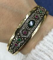 925 Sterling Silver Handmade Antique Turkish Emerald Bracelet Bangle Cuff