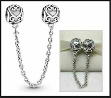 New Authentic Genuine Pandora Enchanted Heart Love Safety Chain Charm S925 ALE