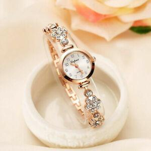 Elegant Womens Lady Quartz Wrist Watch Rhinestone Stainless Steel Strap Bracelet