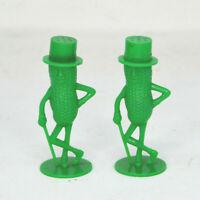 Vintage Green Plastic Mr Peanut Salt and Pepper Shakers