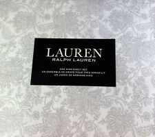 Ralph Lauren 4 pc.King  Floral  Sheet Set 100% Cotton Gray and  White