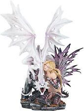 10001 Fairy with Snow White Dragon Mystical Statue Figurine, 23.25''