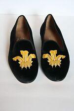 Stubbs & Wootton For JCrew Velvet Slippers 6 Black Gold Loafers Flats NEW