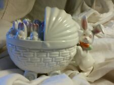 Fitz & Floyd Rabbits in a Basket- Ceramic Covered Bowl