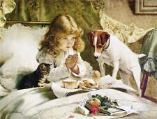 "VINTAGE Victorian ANTIQUE ""Suspense"" JACK RUSSEL Child PRAY *CANVAS* Art PRINT"